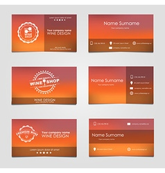 Set of business cards for wine vector