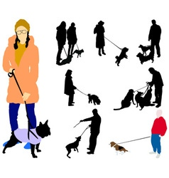 People walking a dogs vs vector