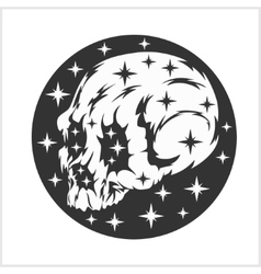 Skull on the night starry sky vector