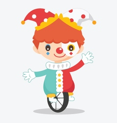 Cute clown with bike vector