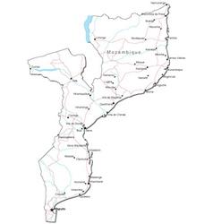Mozambique Black White Map vector image