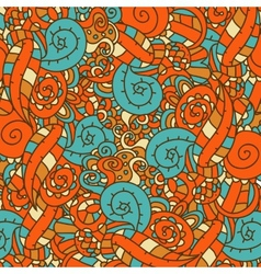 Abstract hand-drawn pattern retro colors vector