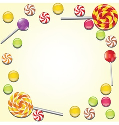 Background with candies frame vector image