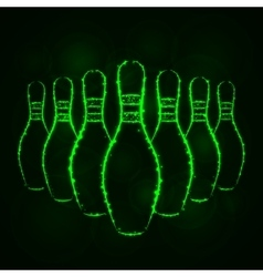 Bowling pins silhouette of lights vector