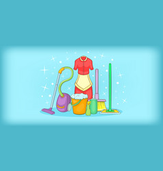 Cleaning horizontal banner tools cartoon style vector