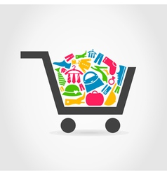 Clothes a cart vector