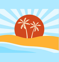 Coast beach with palm trees sunrise vector