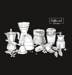 Collection of tools for coffee brewing in black vector