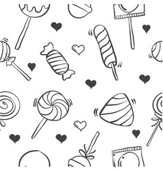 collection various candy hand draw doodles vector image vector image