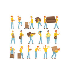 Delivery and moving company employees carrying vector