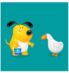 Dog and duck vector
