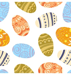 easter eggs seamless pattern white background vector image vector image