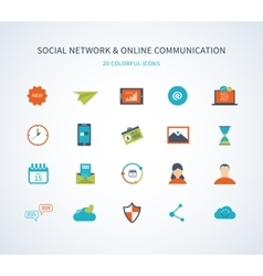 Flat design with social network and online vector image vector image