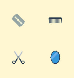 flat icons comb razor looking-glass and other vector image