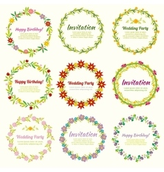 Floral frames and wreaths with flowers set vector image