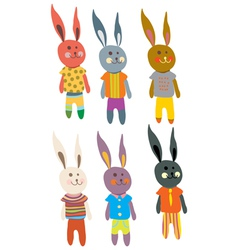 funny hare set vector image