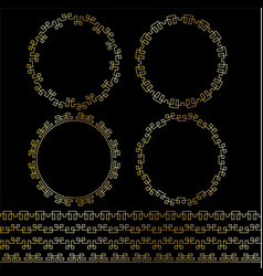 Gold geometric frames and borders vector