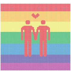 knitted gay pair with heart vector image vector image
