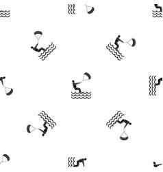 Man takes part at kitesurfing pattern seamless vector