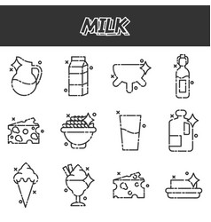 Milk production cartoon concept icons vector