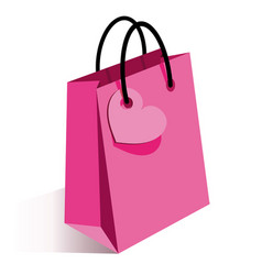 Pink shopping bag with heart vector