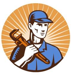 Plumber holding monkey wrench vector