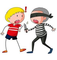 Robbber is threatening a boy vector