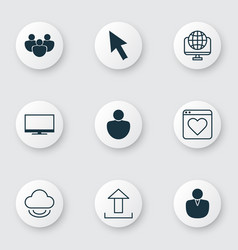 Set of 9 internet icons includes team followed vector