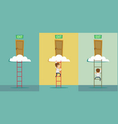 Stairs to the exit on the cloud set vector