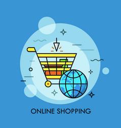 Supermarket cart and globe vector