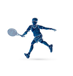 Tennis player running man play tennis movement vector