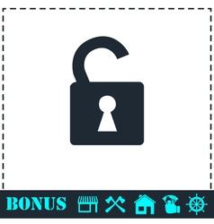Unlock icon icon flat vector