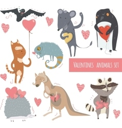 Valentine set of fun animals with hearts and vector