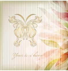 Vintage floral butterfly background vector image vector image