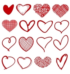 Vintage outline hand drawn sketchy hearts vector