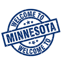 Welcome to minnesota blue stamp vector