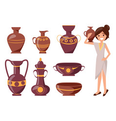 woman posing with clay vase vector image