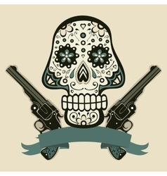 Hand drawn skull with guns vector