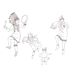 Native americans dancing indian family in vector