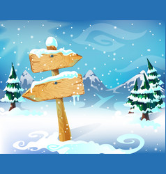 Cartoon winter landscape template vector