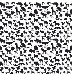different animals silhouettes seamless pattern vector image