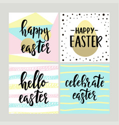 set with happy easter gift cards with calligraphy vector image