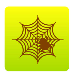 Spider on web  brown icon at vector