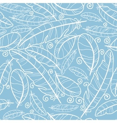 White on blue feathers seamless pattern background vector image