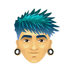 Asian man with blue hair and tunnels in ears vector