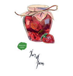 Strawberry jam in a glass jar and fresh berry vector
