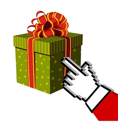 Christmas gift and Santa buying online vector image