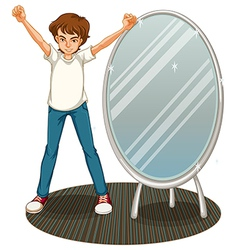 A boy beside a mirror vector
