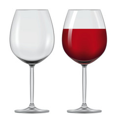 Transparent wineglass with red wine vector