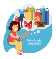 Woman making online purchases vector